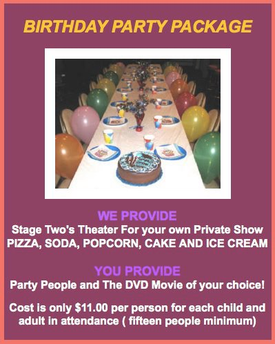 Have your next Birthday Party at the Stage Two!